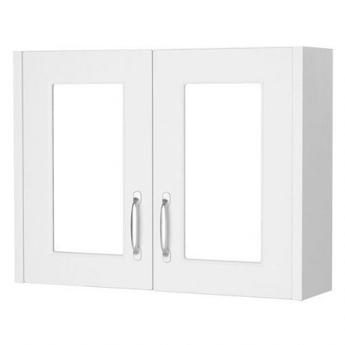 Kartell Astley Double Door Mirrored Cabinet - 800mm - White Ash